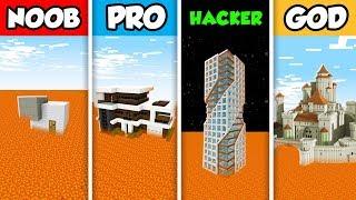 NOOB vs PRO vs HACKER vs GOD : MODERN HOUSE ON LAVA in Minecraft! (Animation)