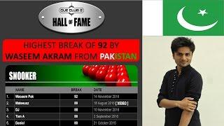 Cue Club 2 Highest Break By Waseem Akram From Pakistan