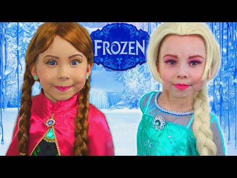 Alice as Princess Elsa and Anna   Stories for girls - Compilation video