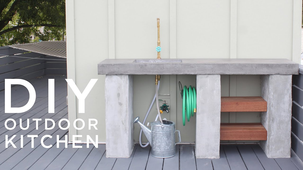 DIY Outdoor Kitchen with Concrete countertops and sink - YouTube