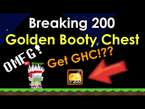 GrowTopia | Breaking 200+ Golden Booty Chest | Valentine 2017