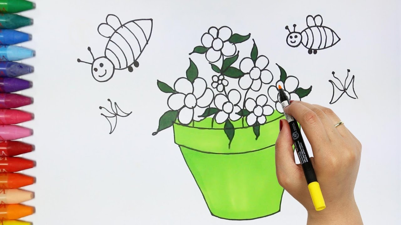 How to draw Flower and Flowerpot | How to Draw and Color Kids TV I ...