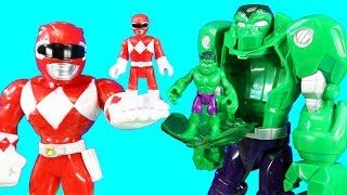 Power Rangers Mighty Minis Help Hulk Mech Robot & Toy Story 4 Friends ! Superhero Toys