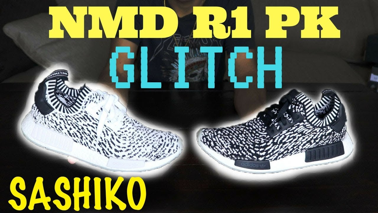 fbd93575985f8 ADIDAS NMD R1 PK SASHIKO GLITCH BLACK AND WHITE REVIEW - YouTube