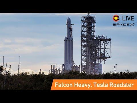 🔴Запуск SpaceX Falcon Heavy (Tesla Roadster)