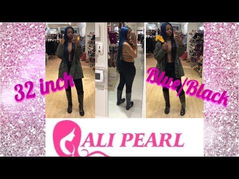 32 Inch 😱 Half Blue Half Black Hair Ft Alipearl Hair || Review