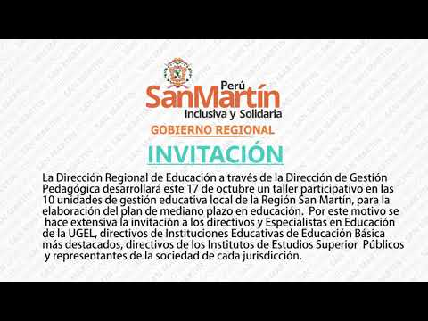 INVITACIÓN TALLER PARTICIPATIVO PMP 2018