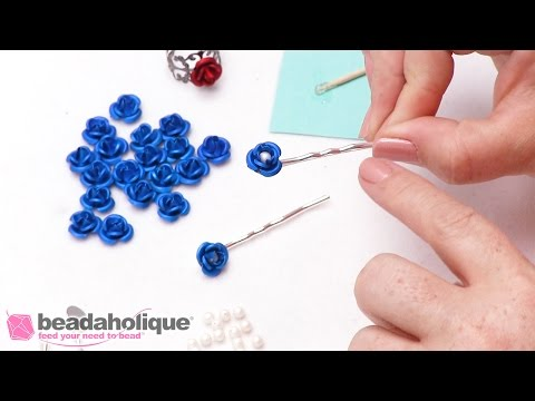 How to Make Hair Pins with Metal Roses and Swarovski Crystal Pearls