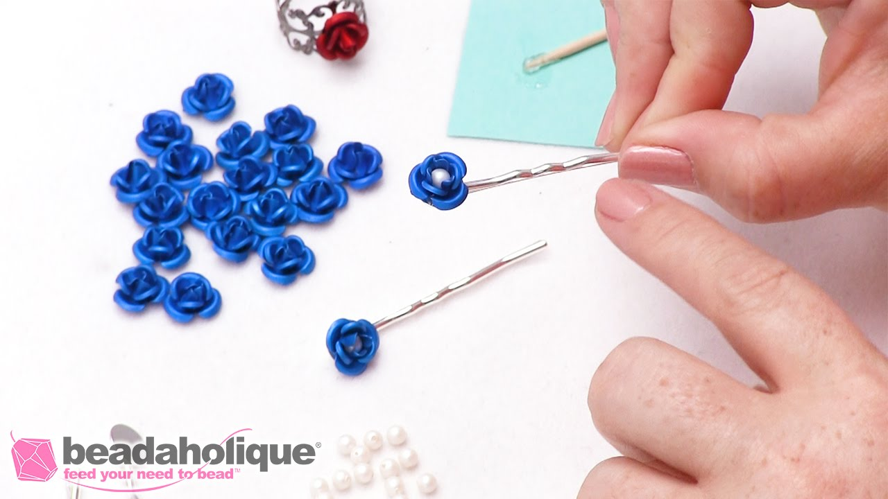 How to Make Hair Pins with Metal Roses and Swarovski Crystal Pearls ...
