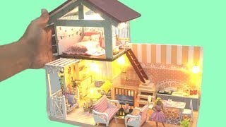 DIY TWO STOREY BARBIE DOLLHOUSE BEDROOM TOILET KITCHEN LIVING ROOM with SWING