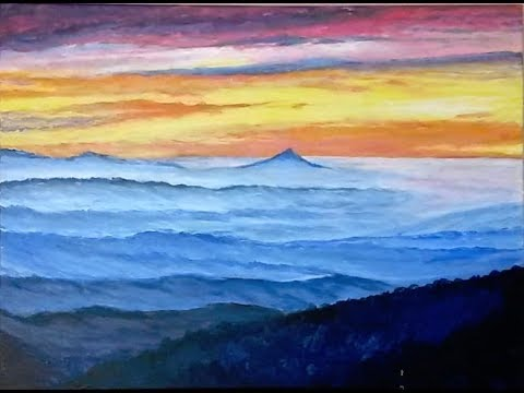 Pilot Mountain, NC – Time-lapse – Acrylic Landscape Sunrise Painting Demonstration