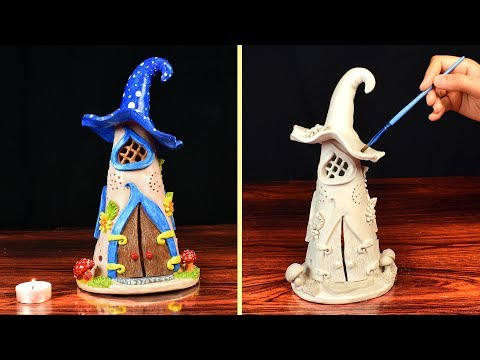 DIY Fairy House Clay Candle Holder | Paper Clay Tutorial