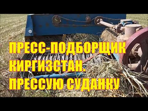 Пресс-подборщик Киргизстан. Как я прессовал суданскую траву.