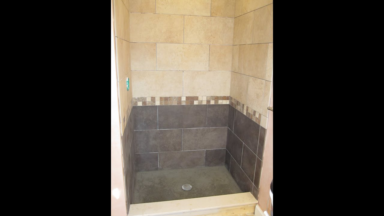 Ceramic tile shower with two tile colors - YouTube