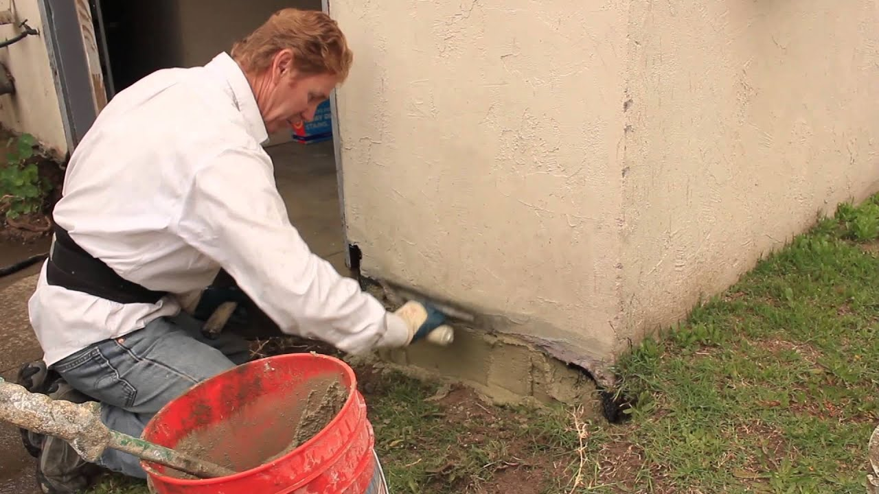 foundation repairs with stucco and or cement plaster - YouTube