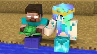 Monster School : Herobrine and Mermaid - Story Minecraft Animation