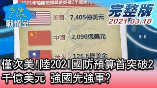 【完整版中集】僅次美!陸2021國防預算首突破2千億美元 強國先強軍? 少康戰情室 20210310
