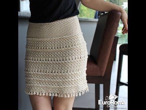 Теплая вязаная крючком юбка