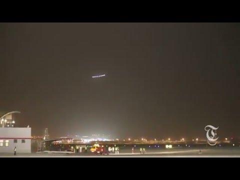 Solar Impulse Airplane Landing in Oman