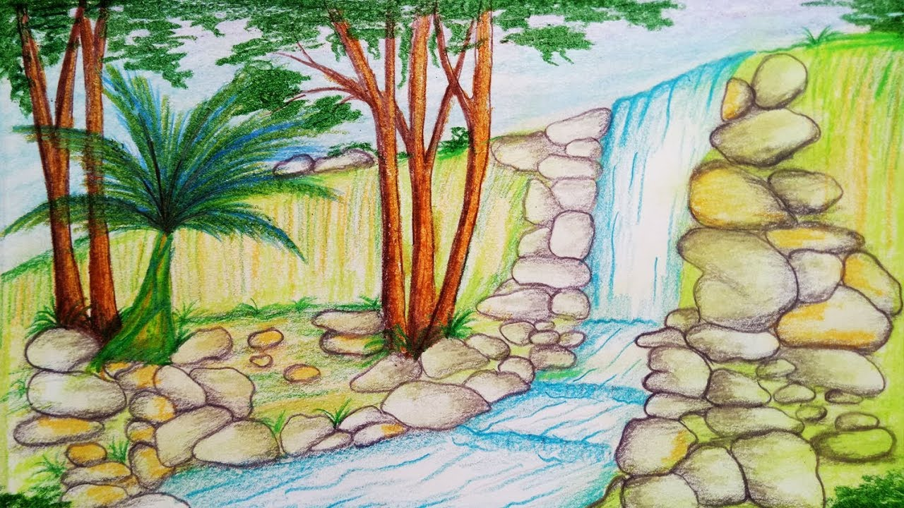 How To Draw Waterfall Step By Step Easy