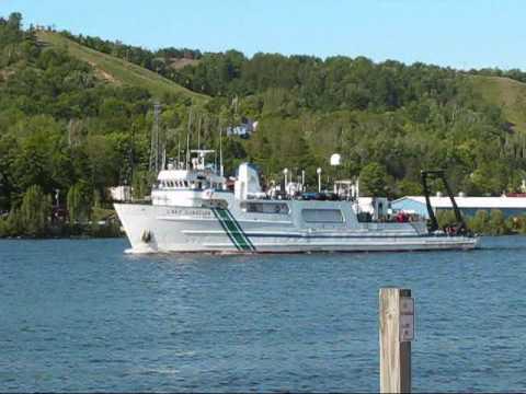 RV Lake Guardian in Portage Lake Shipping Canal and Houghton Hancock Vertical Lift Bridge