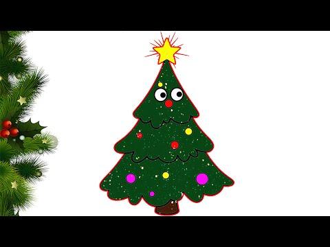 Yılbaşı Çam Ağacı 🎄 Çiz Ve Boya 🎄 | Renkleri Öğreniyorum | Türkçe Ve İngilizce Öğreniyorum