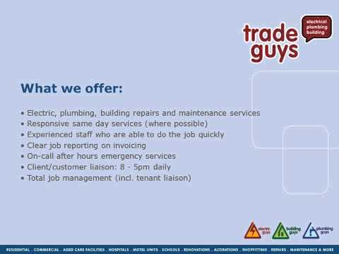 Electricians Auckland Builders Auckland Plumbers Auckland Trade Guys.wmv