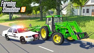 STOLEN TRACTOR GET'S PULLED OVER BY POLICE | (ROLEPLAY) FARMING SIMULATOR 2019