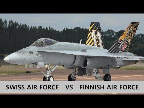 Breathtaking Swiss Vs Finnish F/A-18 Display Rivalry At RIAT