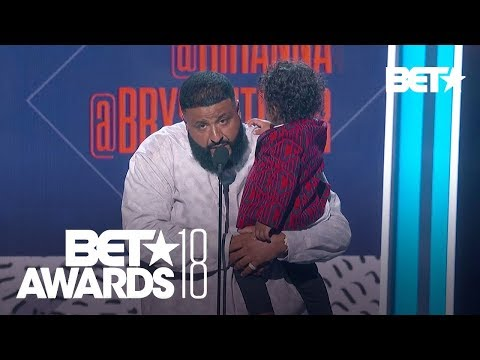 DJ Khaled and Young Asahd Accept the Award in Rihanna's Absence | BET Awards 2018