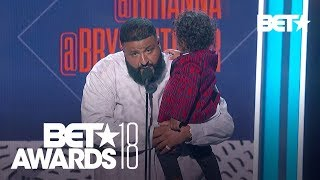 DJ Khaled and Young Asahd Accept the Award in Rihanna's Absence | BET Awards 2018