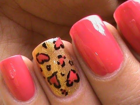cool nail design cute heart leopard
