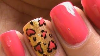 Cool Nail Designs *Cute Heart Leopard* l Easy Nail Designs