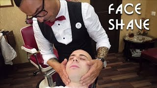 💈 Old school Barber - Face Shave with shavette and hot towel - ASMR no talking