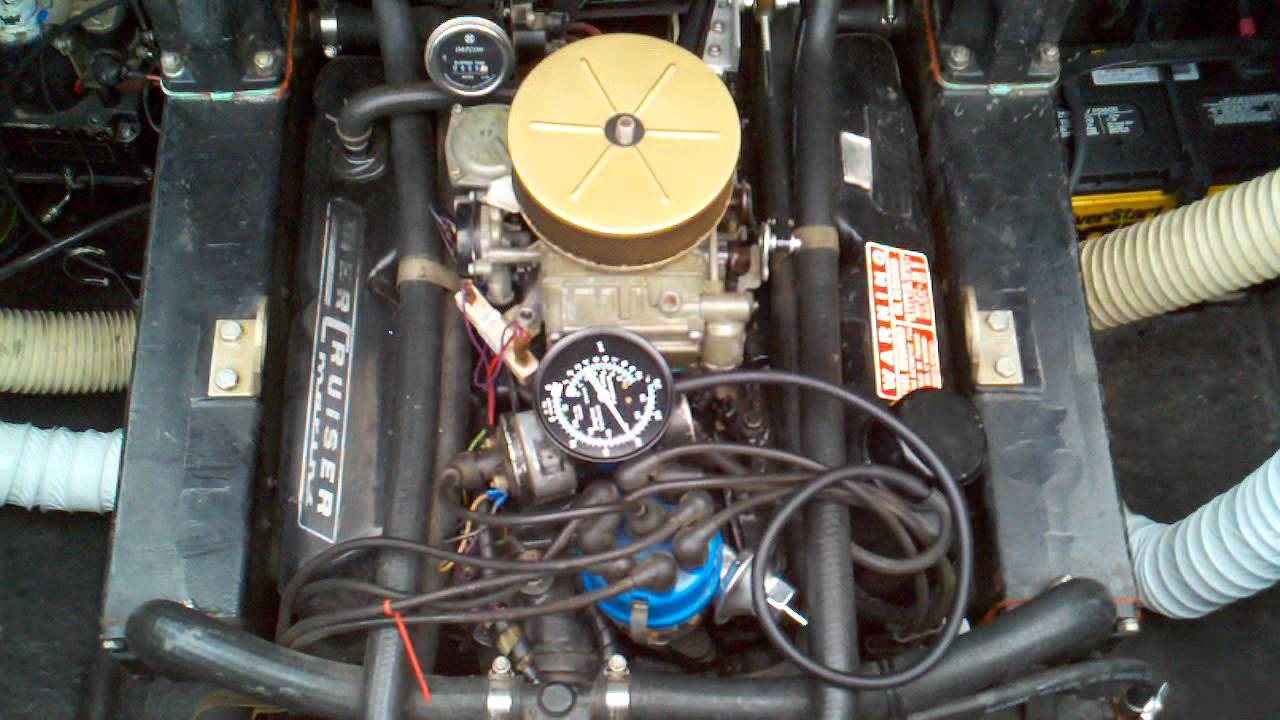 Test fire new carburetor on 1975 Leo v8 888 Mercruiser  YouTube