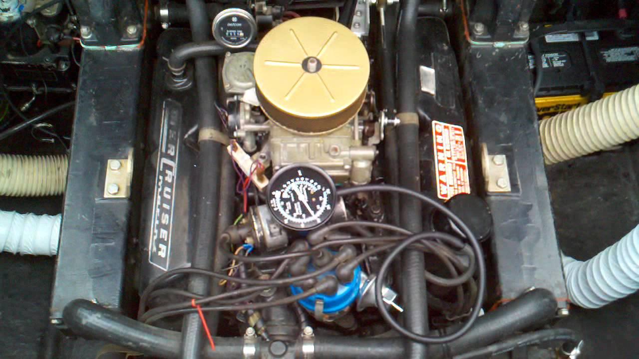 Test fire new carburetor on 1975 Leo v8 888 Mercruiser  YouTube