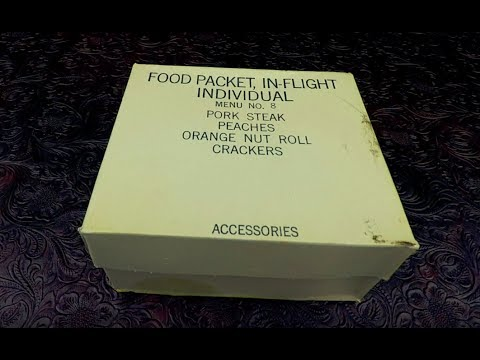 MRE Review 1965 Vietnam War Era C Ration Food Packet IN-FLIGHT Individual EXPLODING PEACHES  !!!