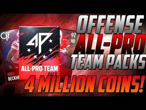 ALL PRO OFFENSE IS HERE!-4 MILLION COINS OF ALL PRO TEAM PACKS!-Madden Mobile 17