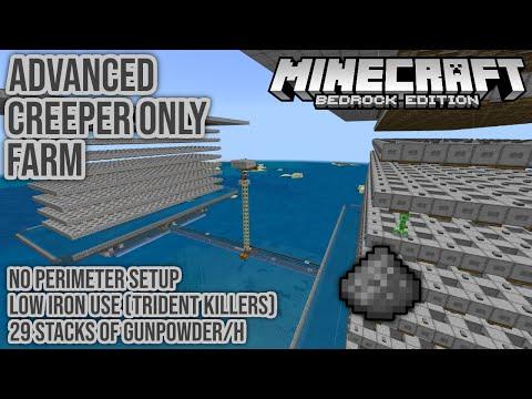 Advanced Creeper Only Gunpowder Farm 29 Stacks H Minecraft Bedrock