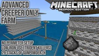 Advanced Creeper Only Gunpowder Farm 29 Stacks/h Minecraft Bedrock Tutorial 1.16