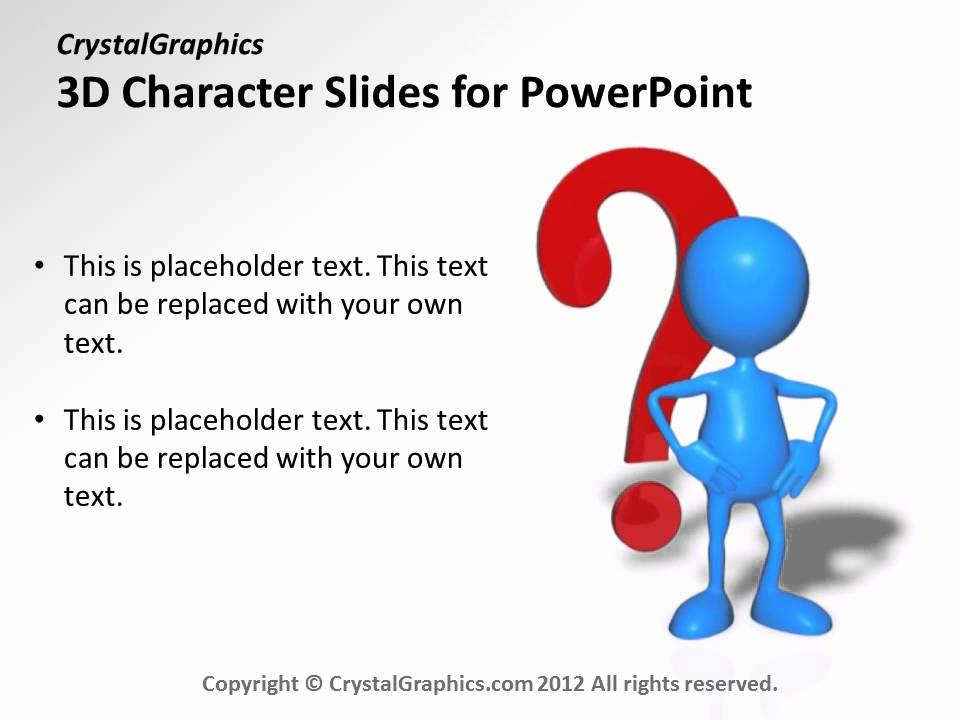 crystalgraphics 3d character slides for powerpoint - question mark, Powerpoint templates