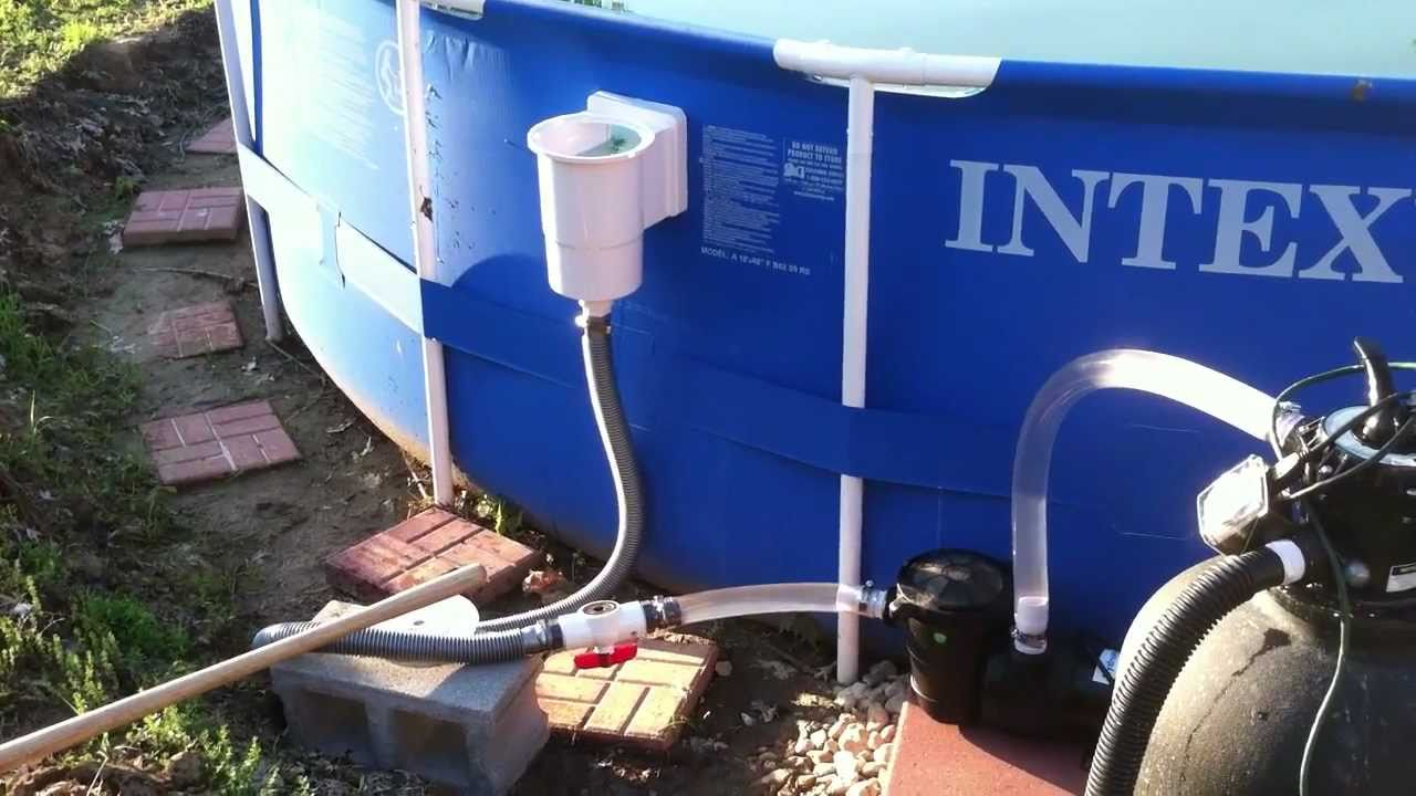 Hacked Intex 18 with standard above ground skimmer, 1hp pump, and 110lb sand filter  YouTube