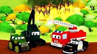 La Super Patrulla: camión de bomberos y patrulla de policía, y Incendios Forestales en Auto City