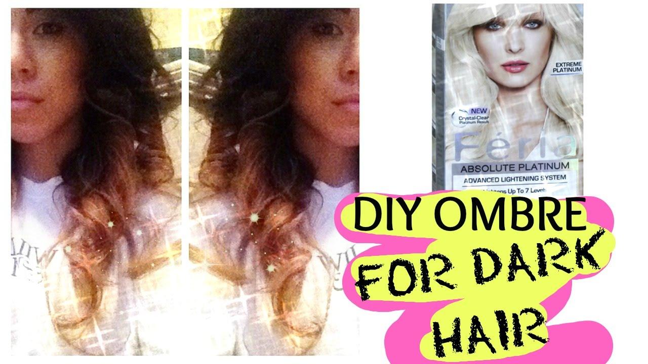 Diy Ombre Hair Tutorial For Dark Hair Youtube