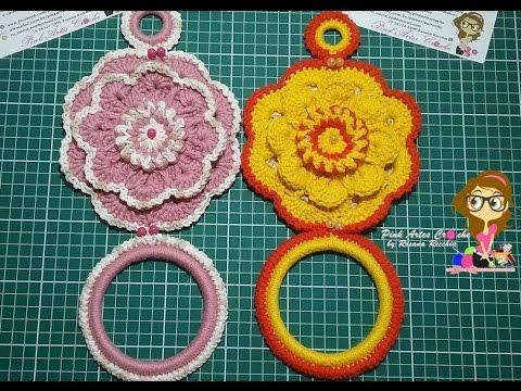 🐧#Porta Pano de Prato cheio de Charme - Pink Artes Croche by Rosana Recchia