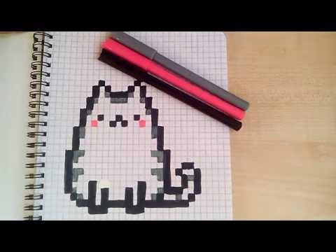 Сегодня рисуем милого котика по клеточкам