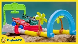 Cars Toy Opening with Planes Racing Against Cars Toys on the Hydro Wheels Splash Speedway Track Set