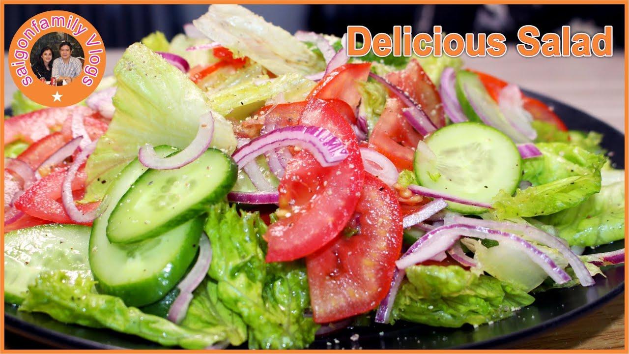 Salad Trộn Dầu Giấm   Salad with Vinegar and Olive Oil   Delicious Salad [Sub]