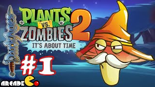Plants Vs Zombies 2: New Update Dark Ages Night 1 Gameplay Walkthrough Part 1