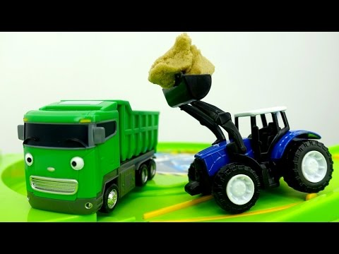 Thumbnail: Tayo toy cars & toy cars videos. Helper cars: toy tractor 🚜 and toy truck 🚛 Машины помощники.